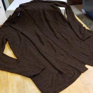 Lightweight brown open front cardigan